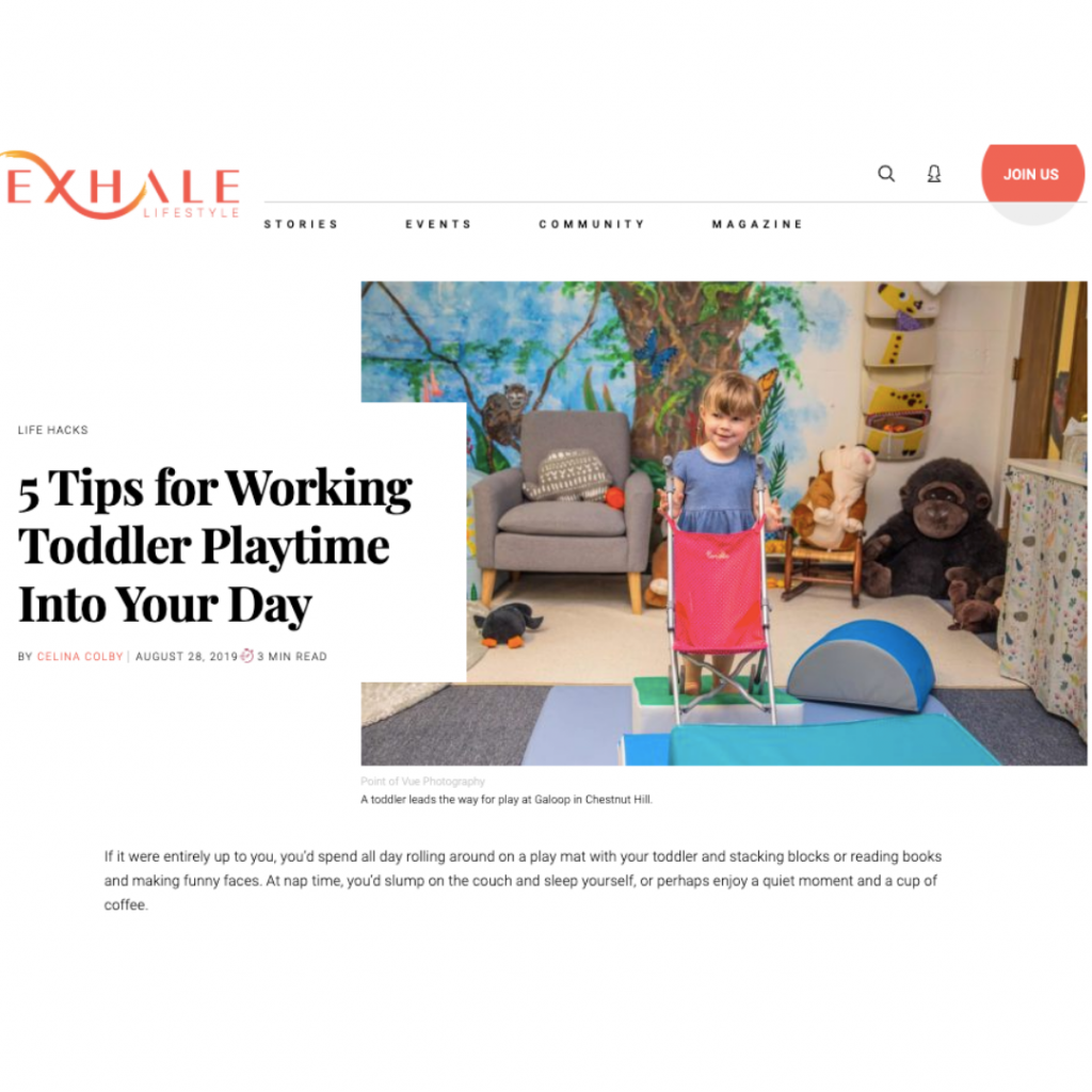 Exhale Magazine featuring Galoop Children's Classes