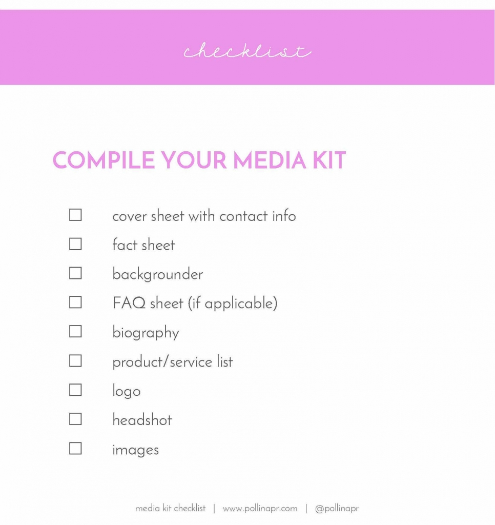 media kit checklist